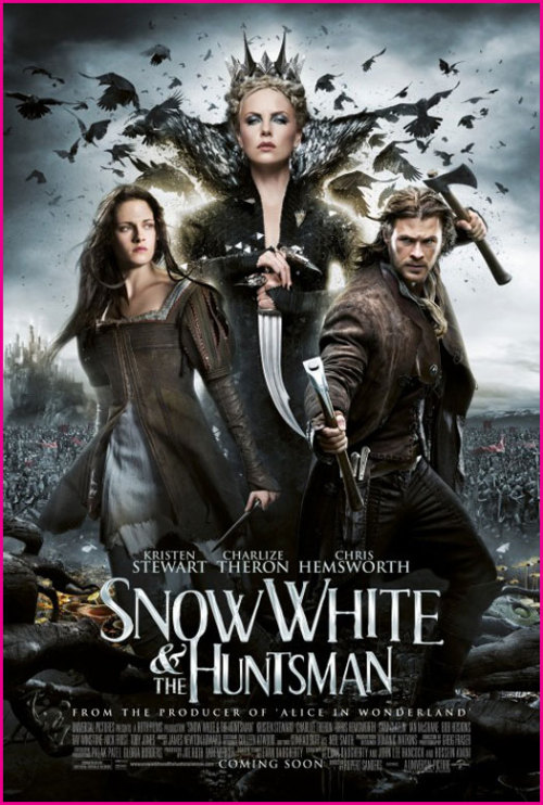 Snow White & The Huntsman (2012) This is going to be a quick review on the movie which I was able to see last night thanks to an early screening by Universal. I know that many (as well for myself before watching the film) are looking forward to the movie, but are not sure how well it might do because Kristen Stewart (of Twilight fame) involvement in the film. I was one of those individuals as well, but could tell from the previews that the movie might actually surprise me and do well. Without ruining it for anyone who has not yet seen it before its actual release date (which is June 1st), I can tell you that it is definitely a summer movie one should go see. Although there were moments where I thought that Edward or Jacob might come on the screen, it was all in the way the cinematography was laid out. It is Snow White but a darker and somewhat different rendition than what we all might remember from our childhood. In all, the film had its dramatic parts, funny dwarf moments, action, and some eye candy for the men (Charlize Theron and Kristen Stewart) and women (Chris Hemsworth and Sam Claflin). If you have not yet seen the preview click here!