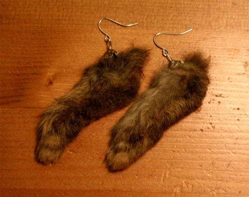 Taxidermy 'Lucky Rabbit' Feet earrings. Available on ebay http://cgi.ebay.co.uk/ws/eBayISAPI.dll?ViewItem&item=180895921887#ht_500wt_961