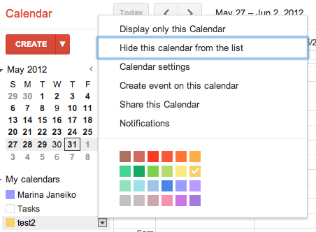 Google Calendar - If you hide several calendars in the list, options menu for the next calendar will default to hide when you expand it. /via Marina Janeiko