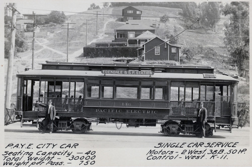 Pacific Electric City Car on Flickr. circa 1914 This passenger rail car was originally built for the San Bernardino Traction Company, a company that was acquired by the Pacific Electric Railway Company in 1910.