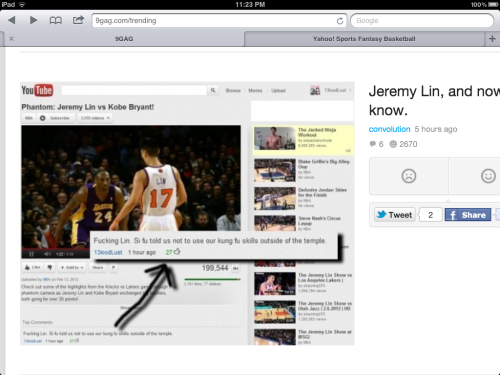 Oh Linsanity, Shifu told you this would happen!!