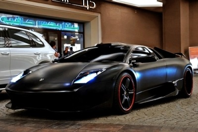 johnny-escobar:  Sinister looking Matte Black Murcielago