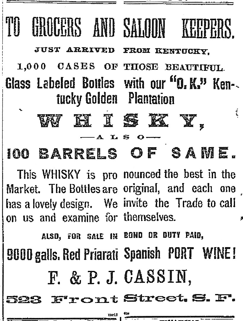 Whisky and Port, ca. March 14, 1874.
