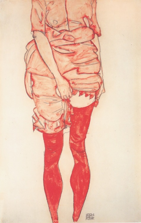 "asolitarycomfort:  Egon Schiele ""Standing Woman In Red"""