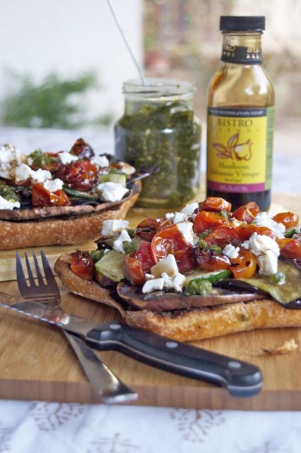 gastrogirl:  open-faced grilled vegetable sandwich.