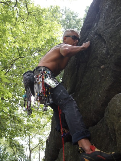 Knucklecase inventor and avid rock climber Pancho Soekoro hanging out!