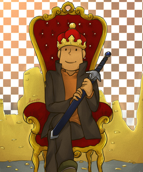Done!Inspired by that tiny Layton icon with a crown that you get when you exceed 100 hint coins. XDD   Why does he have a sword? JUST BECAUSE! XD