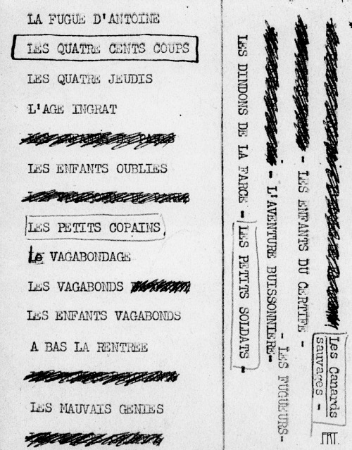 francoisrolandtruffaut:  Different titles considered for Les Quatre Cents Coups