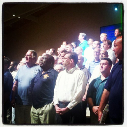 Jeremy with the men at church, making the Courageous pledge #mcgregorbaptistchurch (Taken with instagram)