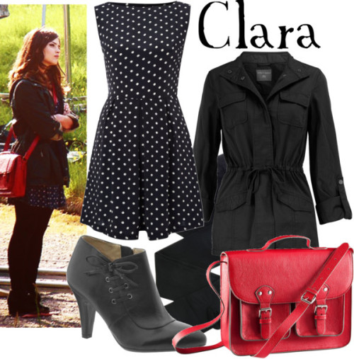 companionclothes:  Clara  AX Paris polka dot dress, £22Dorothy Perkins black cotton jacket, $44Black pantyhose, €35Naturalizer leather lace up boots, $50H M leather shoulder bag, £15