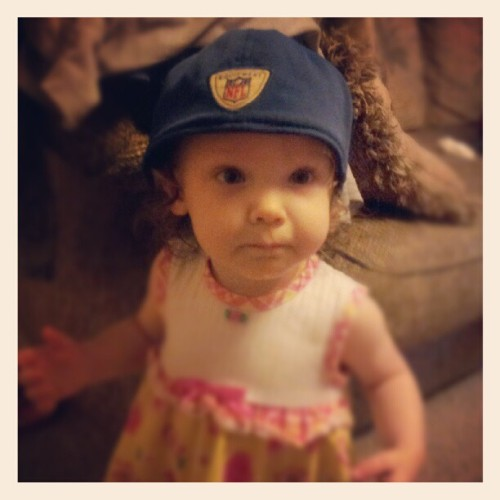 She grabbed it and put it on all by her little self :-) (Taken with instagram)