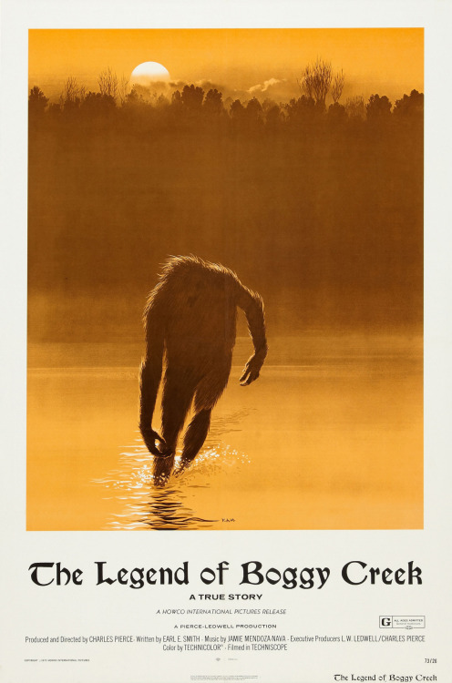 This gorgeous poster of THE LEGEND OF BOGGY CREEK was designed by the great Ralph McQuarrie, who is famously known for his conceptual illustrations for STAR WARS, CLOSE ENCOUNTERS OF THE THIRD KIND, *batteries not included, E.T.: THE EXTRA-TERRESTRIAL, RAIDERS OF THE LOST ARK and more. I came across this and was stunned and incredibly intrigued. The art of this poster alone has me dying to somehow see this film in 35mm, preferably in a cabin in the woods or at a Drive-In, which is what helped the film gross $25 million when it came out. If you have any leads on a 35mm print of this film, please let us know at moviesinla at gmail dot com. Thank you! I must credit Mr. Lyle Blackburn for the wonderful hi-res file of this poster. Read his book, THE BEAST OF BOGGY CREEK.