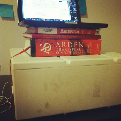 I made a standing desk at home because the Hairpin had an article today about how sitting down all the time is awful, and I thought yes! I do sit down too much! It does feel terrible! Let us always remember this as the day I entered the am Super Reactionary to News Stories About My Health stage of life. On the plus side, this is the most useful my thesis has been since I wrote it. HEYO.