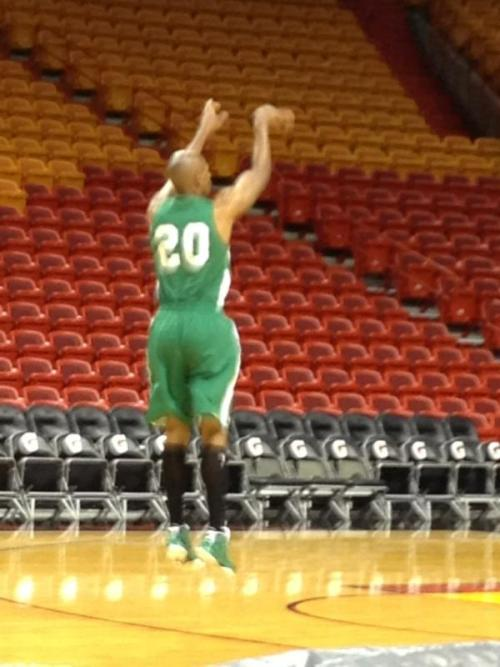Ray Allen practicing jumpers & freethrows at 10:30am