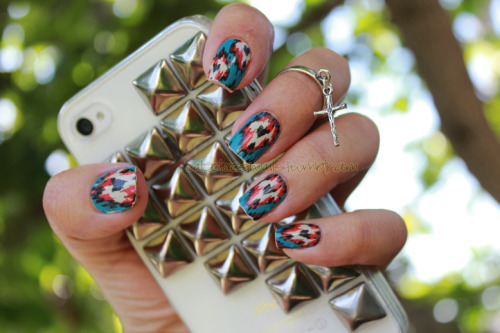 caleelovesnails:  Loving my NCLA Secession Strikes nail wraps from SHOPJEEN.com!!! These were so easy to apply <3