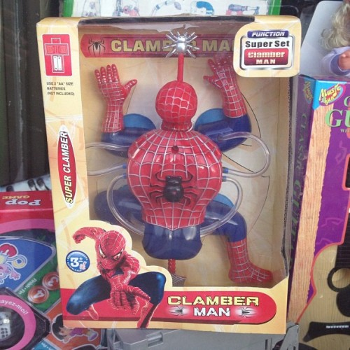 CLAMBER MAN. Total ripoff. Hilarity #SpiderMan (Taken with Instagram at St. Clair & Yonge)