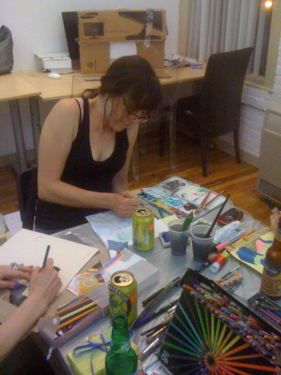 Rebecca Litt at the Drawing Party.