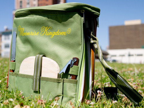 Check out this sweet Moonrise Kingdom picnic satchel, comes equipped with everything you need for a clandestine summer camp lunch including a cutting board, knife and wine opener! We've got five of these official promo items to give away, check out the details here - http://www.spoke-art.com/blog. Plus, if you're in San Francisco tomorrow, join us for a complimentary 7pm screening of Moonrise Kingdom at the Metreon! All you have to do is email MoonriseRSVP@gmail.com for free tickets, see you there!