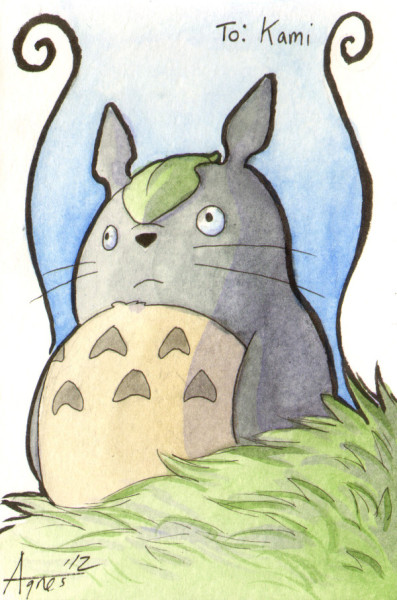 agnesgarbowska:  Totoro drawing I did for another amazing and talented girl. She knows I'm a fan of hers. :)