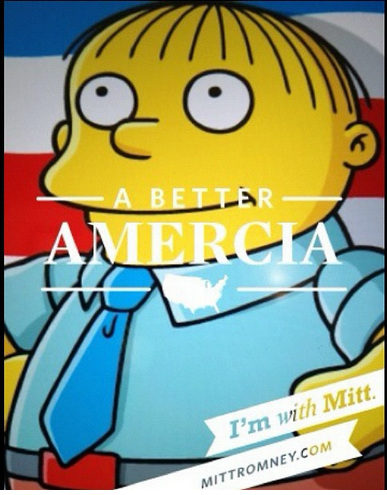 Ralph Wiggum stands with Mitt Romney for a better Amercia.
