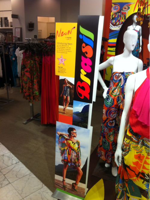 Enjoying the Brasil campaign at Macy's. In-store POS along with hang tags and additional collateral make a cohesive presentation.