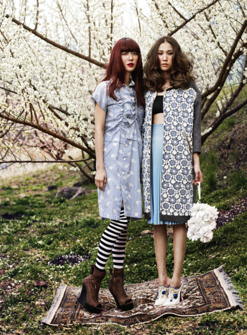 bohemea:  Ji Hyun Jeong & Won-Kyung Kim: Full Bloom - Bazaar Korea by Kim Youngjun, May 2012  Bazaar Korea does it right with pattern-mixing, ethereal lighting and THOSE MIU MIU BOOTS.