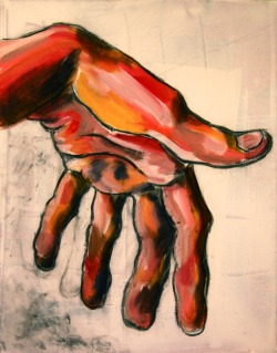 "Hand in Red 24"" X 18"" acrylic on canvas"