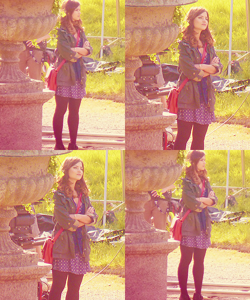 Jenna Louise Coleman on the set of Doctor Who (May 30, 2012).