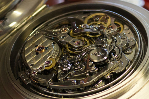 "Intricate.  A 3 million euro pocket watch with a ""grand complication"" dated back to 1899. It was recently restored at the Audemars Piguet Museum and Restoration Department in Switzerland, where this photo was taken by blogger 248AM. According to the article: ""A Grand Complication is a movement that contains a whole bunch of complicated movements all together in one watch. I'll try to list everything the watch above does so here it goes: It has clock watch with grand and small strike, minute-repeater, split seconds chronograph with minutes counter, alarm, jumping seconds, flying seconds and perpetual calendar."""