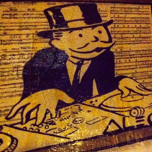 Mr Monopoly moonlights as a deejay on the weekends in the Lower East Side  (Taken with instagram)