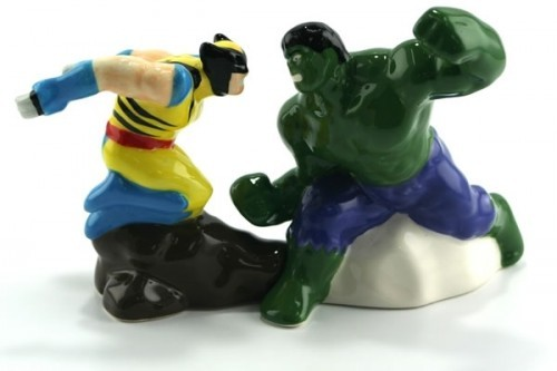 The perfect thing for your geeky dining room table: Hulk vs Wolverine salt and pepper shakers They're definitely way cooler than those duck salt and pepper shakers you got from your parents. And every time you season your food, you can replay one of the most awesome comic book battles ever. Link