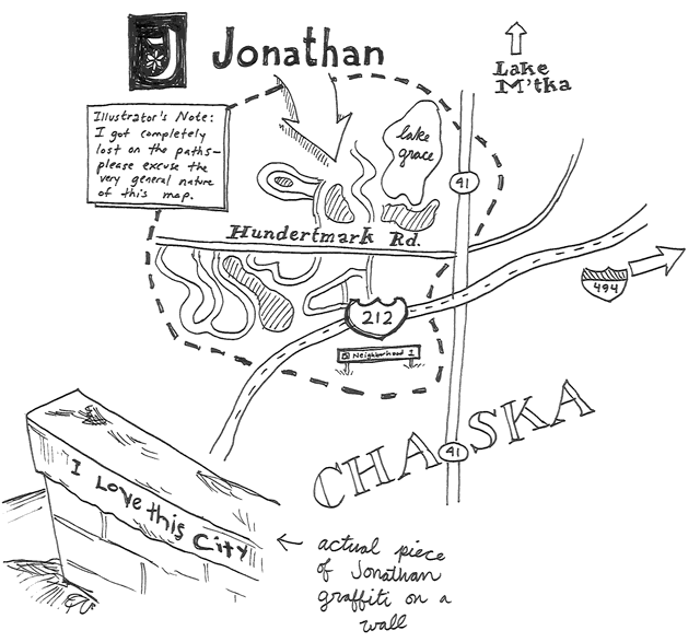 'Ex-town' Jonathan still has distinct touches of its futuristic beginnings  Jonathan is vaguely futuristic, because the history of Jonathan is utterly unlike that of any other place in the state. Utopian futurism is Jonathan's heritage, and it's a heritage that's easy to spot once you park your car, get out and have a walk around.  By Andy Sturdevant of MinnPost