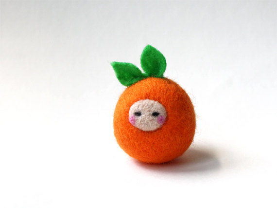 Orange felty friend!  Super happy with how this one turned out :) (via Needle Felted Cute Orange by michelleness)