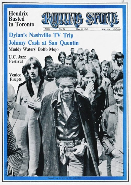 THIS DAY IN MUSIC…  1969, Jimi Hendrix was featured on the cover of Rolling Stone magazine, on sale for 35 Cents.