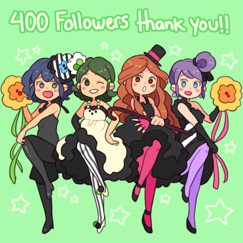 Ahh! Everyone! Thank you soooo much!! ♥ You are all wonderful! We have 73 questions right now, but we will open our ask again once it gets to down to 50! Sorry about that! ((Again, I'm really sorry for not updating much, things have been kind of stressful lately, but I'll get back to answering a few questions each week pretty soon! Thank you for all the follows and nice comments, I can't believe this just hit 400! You sweeties!))