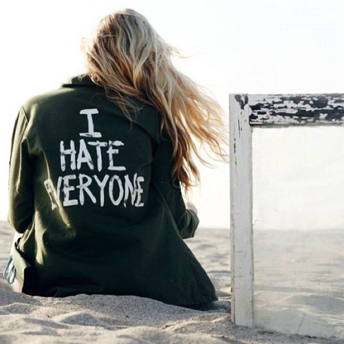 """I HATE EVERYONE"" jacket.  Photo by @jesica_lauren on Twitter.  Do you have any photos of you wearing my ""I HATE EVERYONE"" jacket?  Or any of my other designs?  Send them over! I'll post my favorites on my blog!"