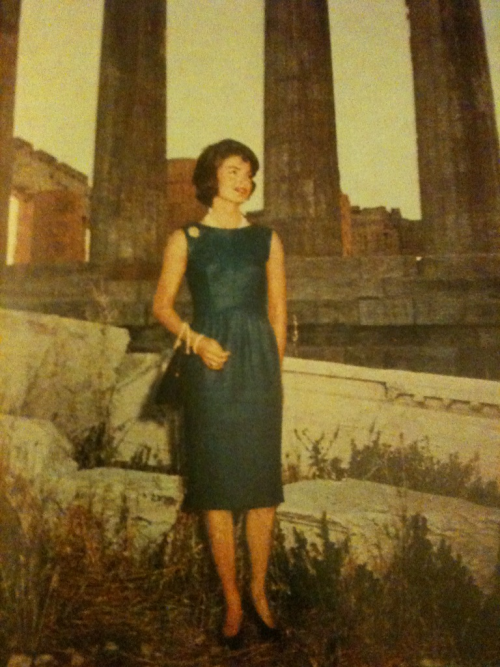 Jacqueline in Greece wearing a simple and sophisticated denim blue dress. I wish I could show you the back of this dress and how cute it is with the medium sized buttons down the back!