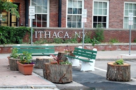 "Ithaca mayor turns his personal parking space into a mini-park After Svante Myrick, 25, became the youngest-ever mayor of Ithaca, N.Y., he gave up his car to join the estimated 15 percent of his city's residents who walk to work. As mayor, however, Myrick has a prime downtown parking spot reserved for his exclusive use. So instead of letting it stand empty, last week he began to, as he put it, ""turn the Mayor's parking space into a park space."" Ithaca is a pretty cool town. (Also, is this guy Ben Wyatt in real life maybe?)"