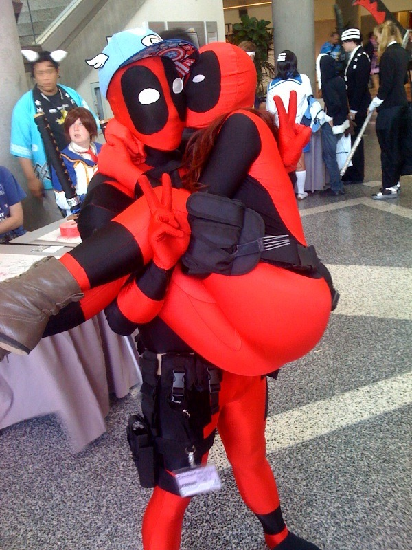 Me and another Deadpool :) Anyone know who this guy is?