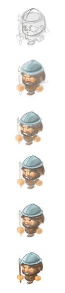 A progression of painting a character for the iOS/Android game we are building, Lets refer to this by the codename; Angry Dragon.