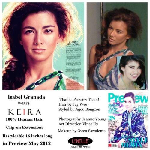 Isabel Granada wears KEIRA Clip- on Extensions in Preview May 2012-That's Entertainment Editorial!Take a look!