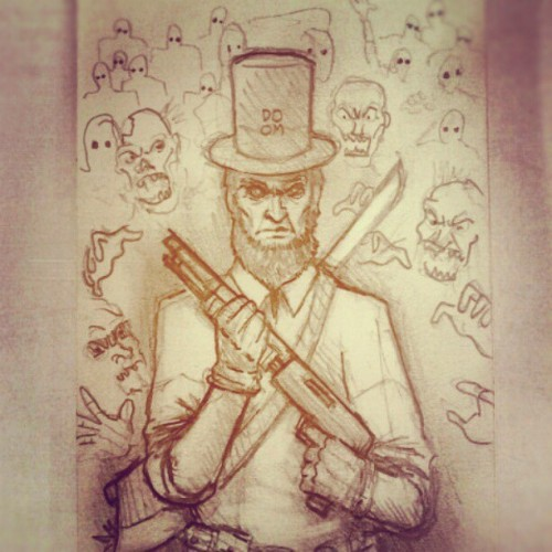 Abraham Lincoln: Zombie Hunter sketch. Check out my latest sketches on Instagram: DOOMCMYK