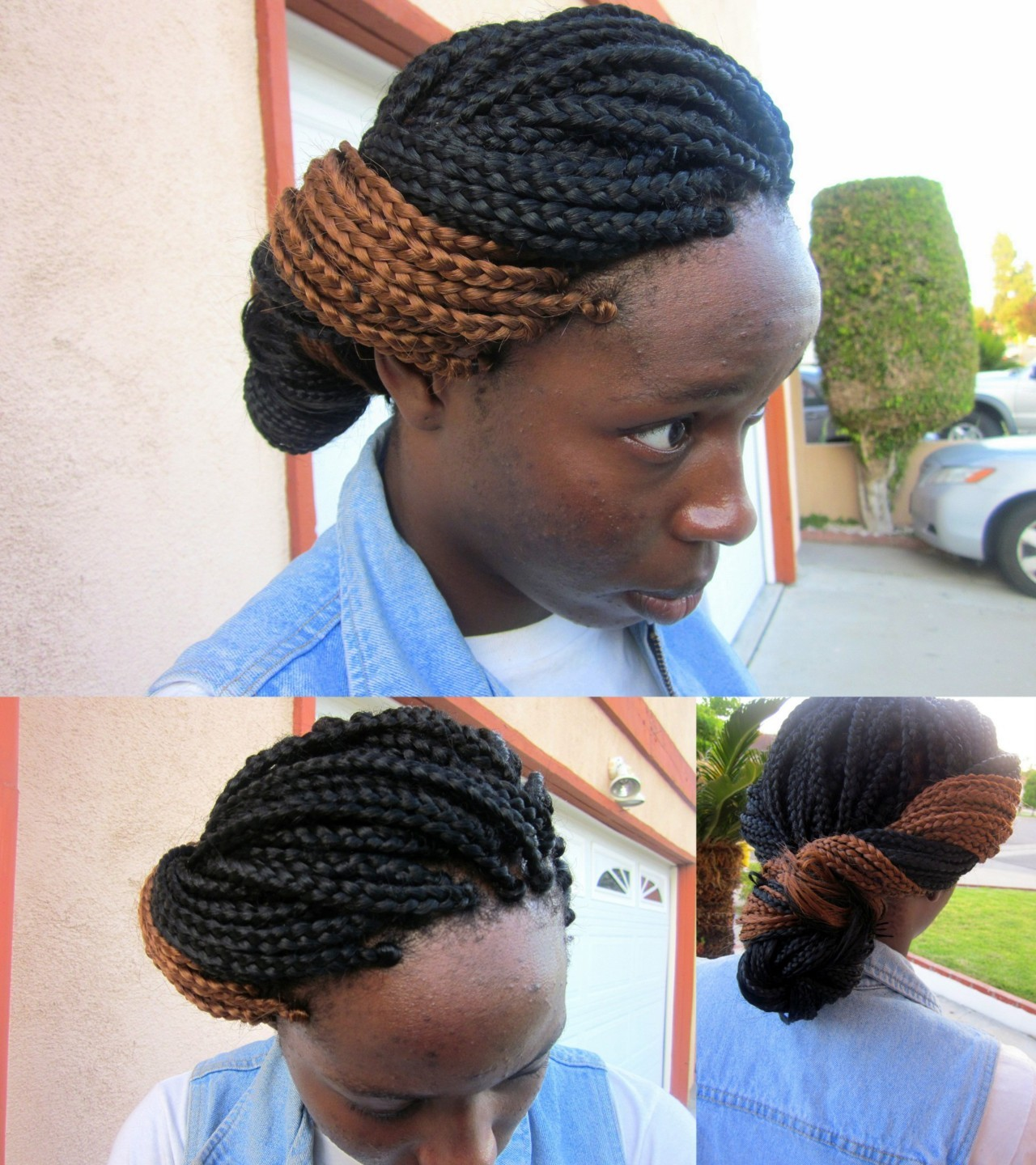 my client gabriella.  medium sized box braids; simple updo. braids done & styled by me.