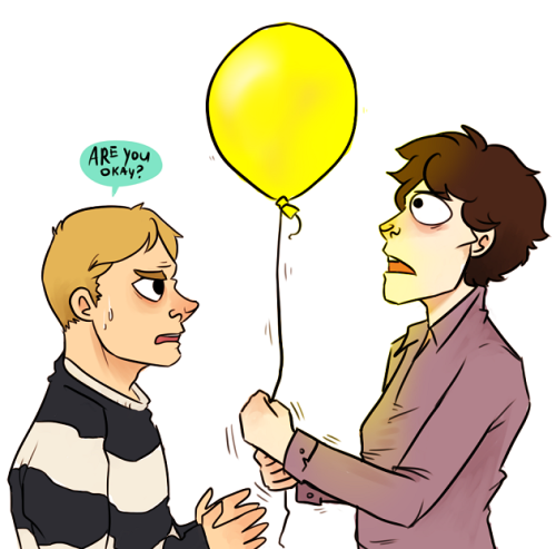 Anonymous asked you: Sherlock staring incredulously at a yellow balloon  someone explain this one to me