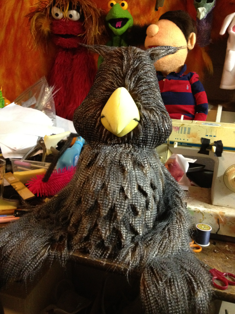 "Puppet owl for a client .. The ""feather"" look here is achieved by the use of this high quality fur , and layering strips of fur cut with the feather shape on the body , very effective I think."