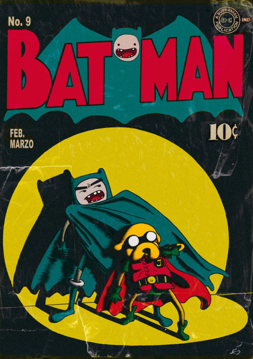 actorswithactionfigures:  Heck yeah! Adventure Time as vintage Batman & Robin! Original found here (yupiyeyo). kateordie:  Yeee!   #AdventureTime #BatmanAndRobin #BackWhenComicsWere10Cents