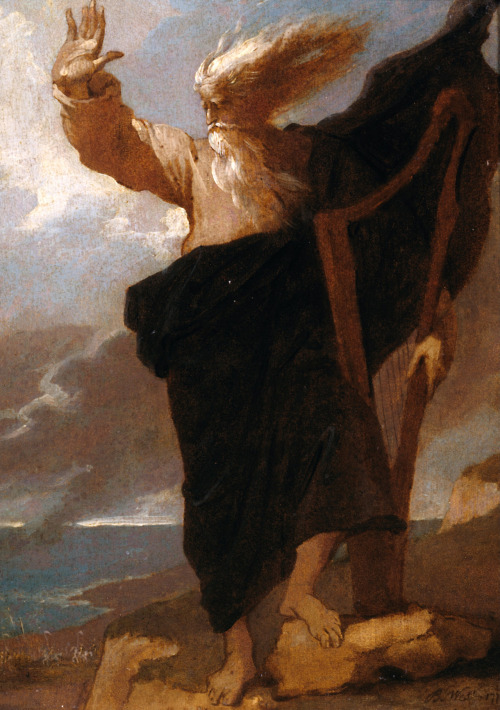 artmastered:  The Bard by Benjamin West, 1778. From the Tate:  Thomas Gray's poem 'The Bard', published in 1757, was based on the now-discredited tradition that Edward I ordered the massacre of the Welsh bards; Gray describes how the sole surviving bard stood on Snowdon and cursed king Edward before throwing himself into the Conway river beneath. It is one of the earliest literary treatments of passionate and heroic action in a wild natural setting which link the sublime with the Romantic movement. It inspired many artists, including Benjamin West, de Loutherbourg, Blake, Fuseli, Turner, and John Martin. Here, the bard holds a harp, associated with the bardic tradition and a symbol of Wales.