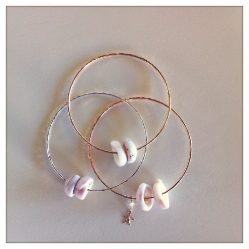 Rose Gold Filled, Gold Filled, Sterling Silver Hammered Puka Shell Bangles… www.shellchicmaui.com