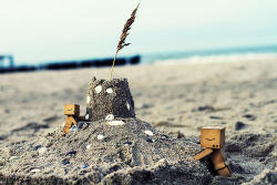 Danbo and Baby Danbo Making a Sandcastle