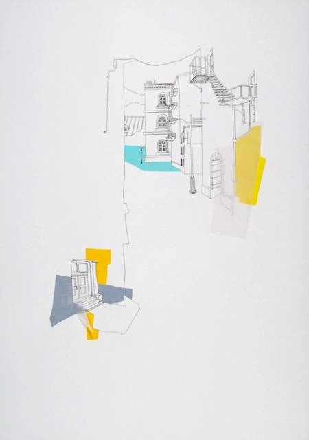 drawingarchitecture:  Neighbourhood II  Annalise Rees  2011. graphite, gouache and trace on paper, 107 x 76 cm.